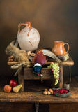 Wine jug and hunting scene. Antique old master hunting still life with pheasant and hare Royalty Free Stock Images