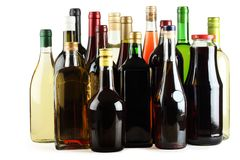 Wine, juice, whiskey, brandy, gin, vodka. Royalty Free Stock Image