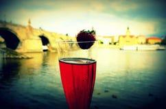Wine with Karl's bridge Royalty Free Stock Photography