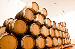 Wine keg barrels. Stacked keep cool Stock Photography