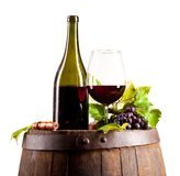 Wine on keg, isolated on white background Stock Photo