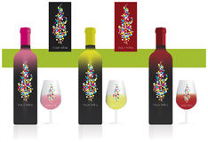 Wine label. Wine productor logo, Wine label with bottle and glass Stock Image