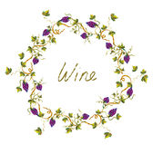 Wine label or background with vines and grape -  illlustration Stock Images