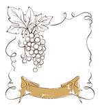 Wine label with a bunch of grapes and ribbon Royalty Free Stock Photos