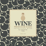 Wine label with a clay jug. In bunch of grapes background Royalty Free Stock Photos