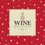 Wine label with a clay jug. In bunch of grapes background Royalty Free Stock Image