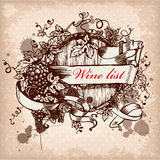 Wine label with grapes on grunge background. Wine label design with grapes and keg royalty free illustration