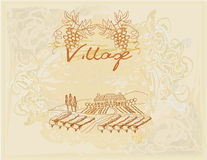 Wine label - hand drawn vineyard. Illustration Royalty Free Stock Photos