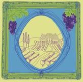 Wine label. Hand drawn vineyard Royalty Free Stock Image