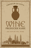 Wine label with with jug clay Royalty Free Stock Images