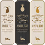 Wine label with jug clay. Set wine labels with jug clay and a bunch of grapes Royalty Free Stock Photos