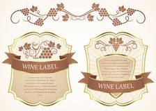 Wine label. Labels with grapes Royalty Free Stock Image