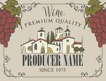 Wine label with landscape of village and grapes. Vector wine label with handwritten inscription, hand-drawn landscape of the European village and bunches of Stock Images