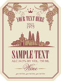 Wine label with a landscape of vineyards Royalty Free Stock Photography
