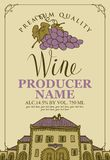 Wine label with an old house and bunch of grapes. Vector label for wine with a handwritten inscription, an old house and a bunch of grapes in a frame with curls Royalty Free Stock Photography