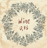 Wine label retro design with grapevine Royalty Free Stock Photography