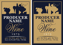 Wine label set with the silhouette of a still life Stock Images