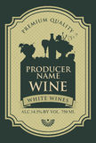 Wine label with the silhouette of a still life Stock Photography