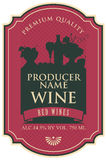 Wine label with still life. Wine label with the silhouette of a still life from bottles and bowl of fruit Stock Images