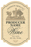 Wine label with still life Royalty Free Stock Photos