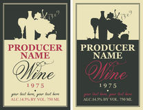 Wine label with still life Royalty Free Stock Images