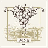 Wine label vector grape and landscape logo for winery Stock Photos