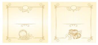 Wine labels. Illustration - wine labels with gold ornaments vector illustration