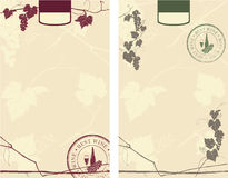 Wine labels. Whith creative stamp Royalty Free Stock Images