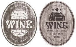 Wine labels with the barrel. Set of vector wine labels with the barrel on the background of wooden boards Stock Photography