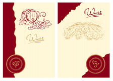 Wine labels with the barrel and the vineyard. Vector illustration - Classic wine label royalty free illustration