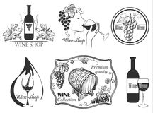 Wine labels collection Stock Photos
