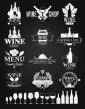 Wine Labels and Logos chalk drawing Royalty Free Stock Image