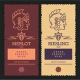 Wine labels, roman empire soldier vector illustration