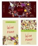 Wine labels  set - funny desig Stock Photo
