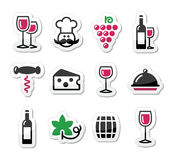 Wine labels set - glass, bottle, restaurant, food Royalty Free Stock Image