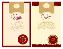 Wine labels with stamp Stock Photography