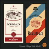 Wine labels. Vineyard. Hand drawn vineyard landscape Stock Photography