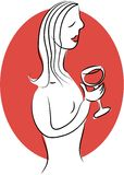 Wine Lady stock illustration
