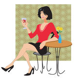 Wine ladyrst. Woman drinking wine wearing a red top. Black pumps Stock Photo