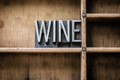 Wine Letterpress Type in Drawer Stock Photography