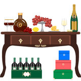 Wine and light refreshments Royalty Free Stock Images