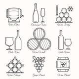 Wine line icons stock illustration