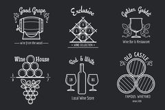 Wine line logo set Royalty Free Stock Photography