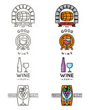 Wine line logo or winery logotype set vector stock illustration