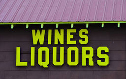 Wine and liquor store building Stock Photo