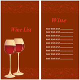 Wine list. The image depicts a menu with the wine list which are depicted on the left and right two glasses of wine you can put brands with its price vector illustration