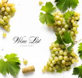 Art wine list background; sweet white grapes and leaf stock photos