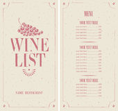 Wine list. With a bunch of grapes stock illustration