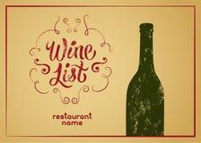 Wine List calligraphic vintage grunge style design. Retro vector illustration. Stock Image