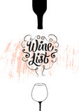 Wine List calligraphic vintage grunge style design. Retro vector illustration. Stock Photo